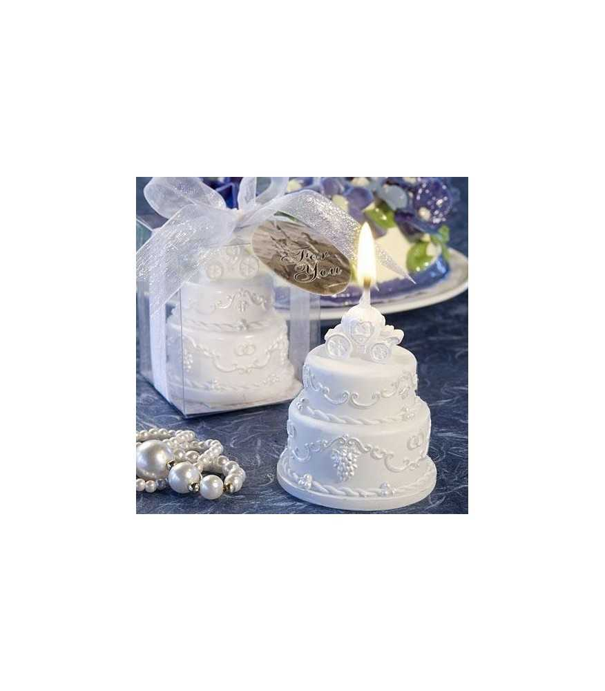 Wedding Cake Candle with Carriage (WHITE)