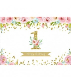 Happy 1st Birthday (Flowers & Gold Theme)
