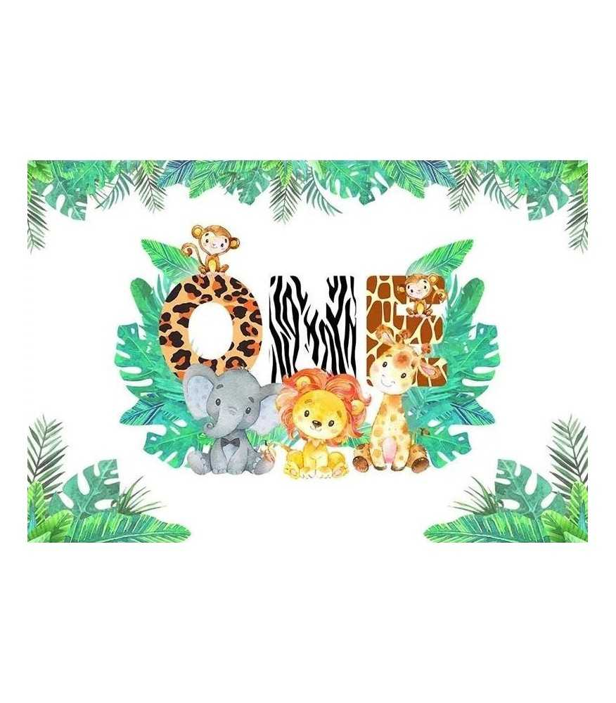 1st Birthday baby Jungle Backdrop