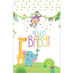 HELLO BABY PLASTIC TABLECOVER