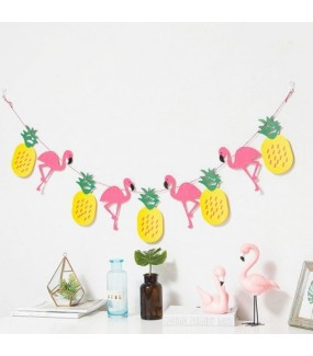 Flamingo Banner Garland Non-woven Pineapple Flag For Flamingo